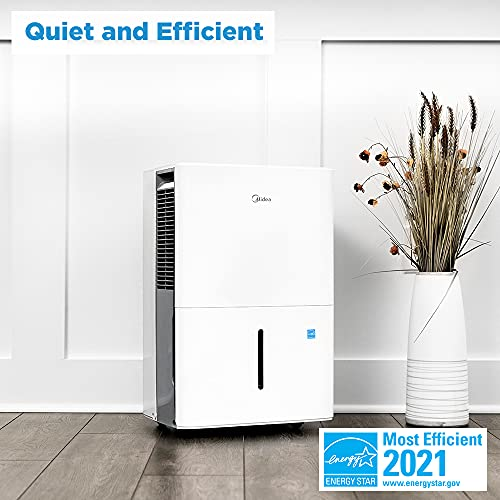 Midea 4,500 Sq. Ft. Energy Star Certified Dehumidifier with Reusable Air Filter 50 Pint 2019 DOE (Previously 70 Pint) - Ideal For Basements, Extra Large Rooms and Bathrooms (White)