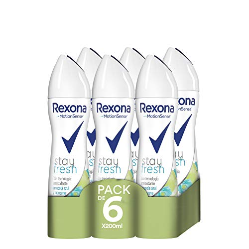 Rexona Stay Fresh Desodorante Antitranspirante Manzana - Pack de 6 x 200 ml (Total: 1200 ml)