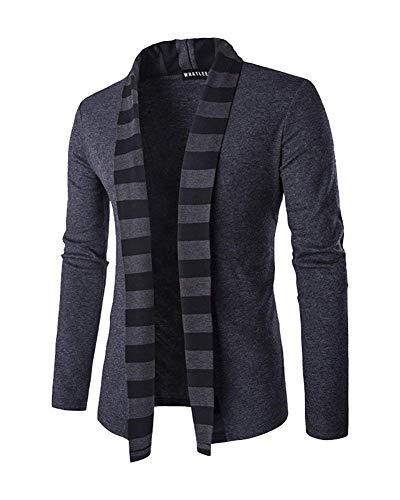 HaiDean heren cardigan sjaalkraag slim fit gebreide jas sweatshirt lente moderne nonchalant herfst elegante lange mouwen outdoorjas