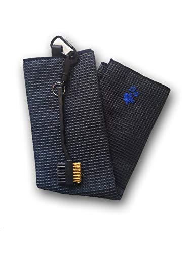 BGSP - Regalo Golf | Toalla Microfibra + Cepillo Negro para Golf con Gancho para Bolsa | Cepillo para Palos y hoyelos | Unisex Golfistas (Marino)