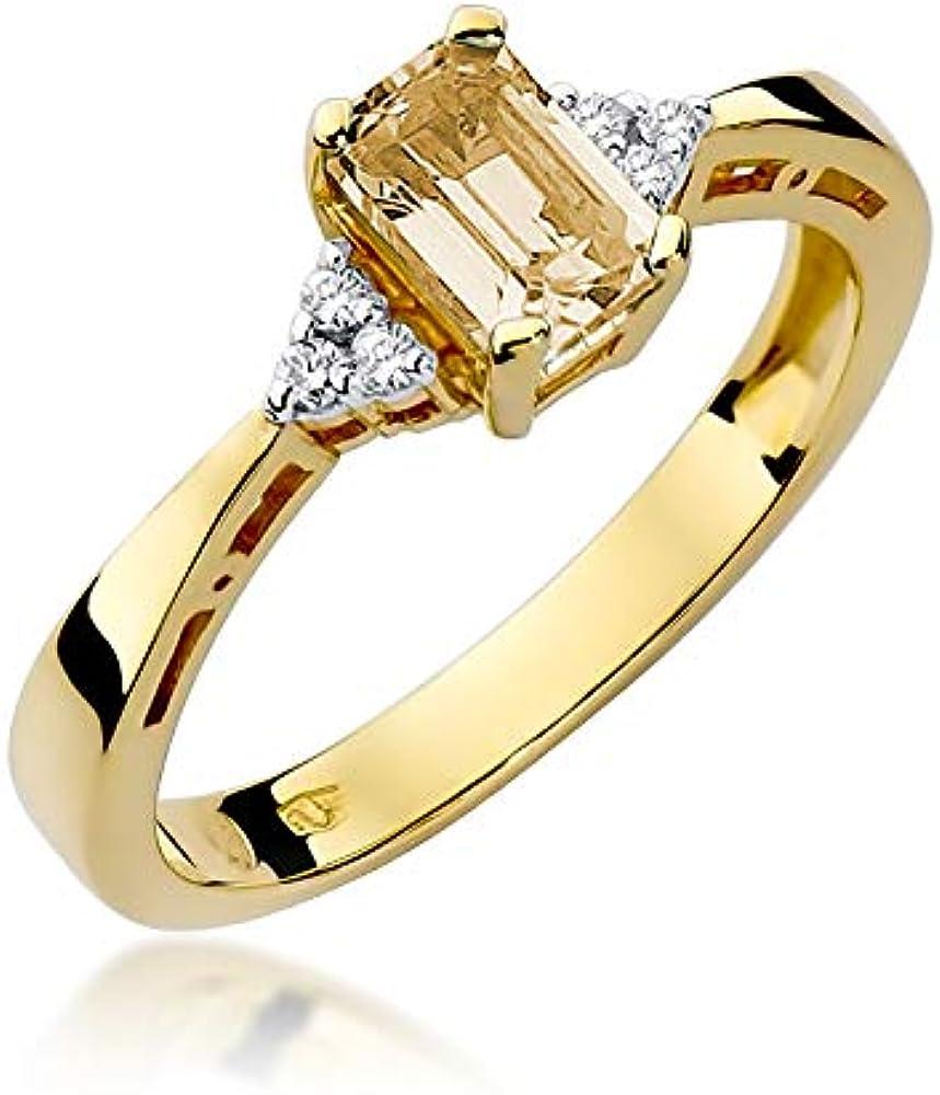 Anello da donna in oro giallo 585, 14 carati, con pietre preziose e diamanti R2C