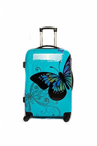 ADC Trolley maleta 65cm Promedio de 4 ruedas de policarbonato (azul) ADC -trolley 'Butterlfy' rígido.
