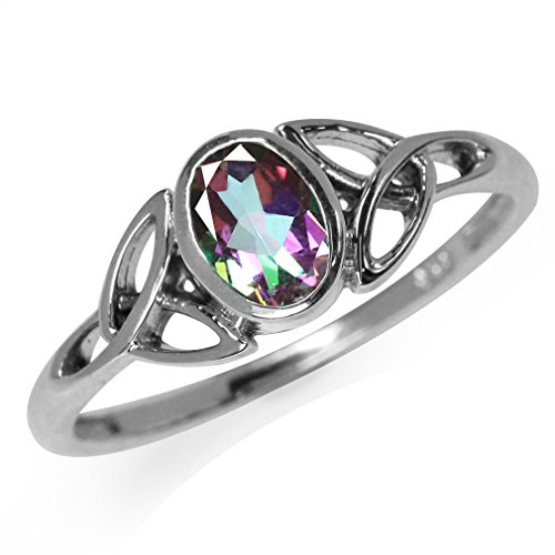 Silvershake Mystic Fire Topaz White Gold Plated 925 Sterling Silver Triquetra Celtic Knot Ring Size 8.5