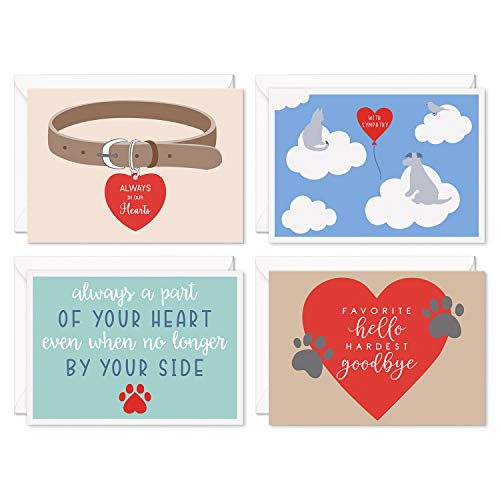 Sweetzer & Orange Loss of Pet Sympathy Cards for Dogs, Cats and All Pets. Set of 8 Note Cards and Envelopes. Thick Greeting Cards and Envelopes, Bereavement Cards, Dog Sympathy Card, Grief Cards.