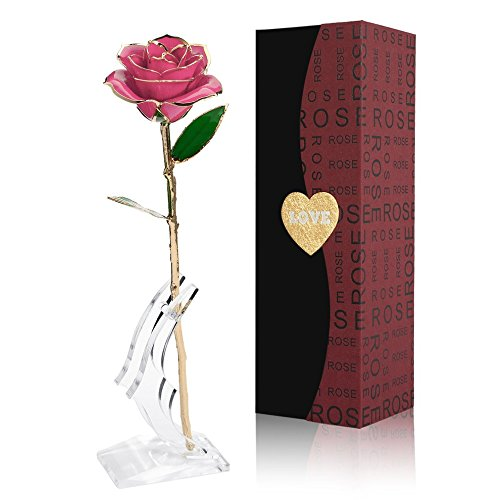 Rosa Oro 24 K Rosas Eterna Flores Artificiales Mejor Regalo Con Soporte Transparente y Caja Regalo para Esposa Mom Novia En Navidad, San Valentín, Cumpleaños, Día de la Madr, el Día de San Val