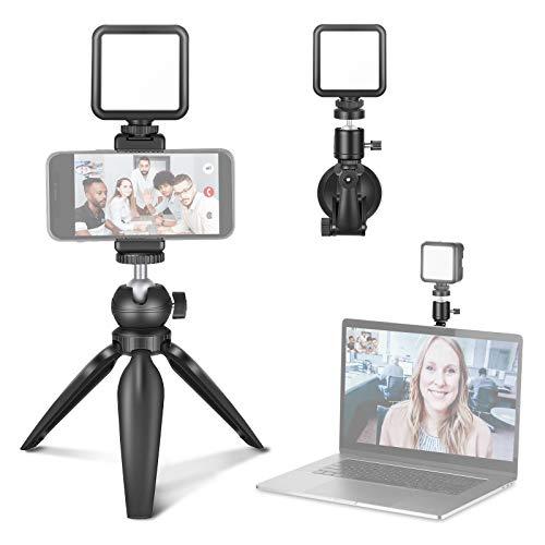 Neewer Videokonferenz Beleuchtungsset, Zoombeleuchtung für Computer mit Saugnapf, Mini Stativ und Telefonhalter für Videokonferenzen/Fernarbeiten/Zoomanrufe/Selbstübertragung/Live-Streaming
