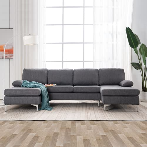 MELLCOM Soft Linen Fabric U-Shape Sectional Sofa, Modern Design Sectional Couch, Double Wide Chaise Lounge Couch with Modern Metal Feet for Living Room, Grey
