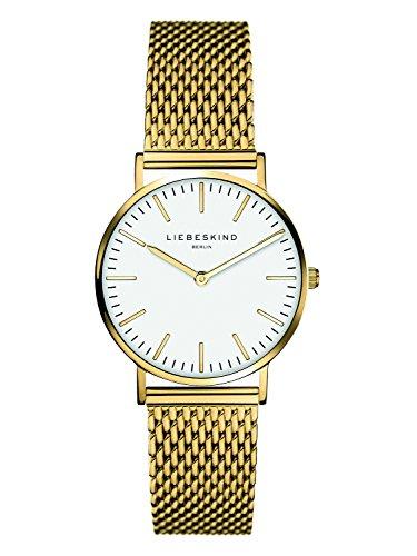 Liebeskind Berlin Damen Analog Quarz Uhr mit Edelstahl, IP Gold