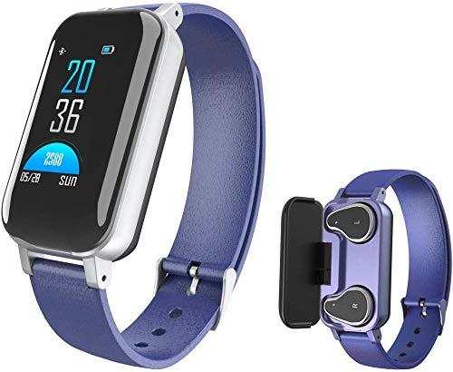 Fitness Tracker reloj inteligente, impermeable al aire libre ritmo cardíaco podómetro rastreador de actividad calorías sueño monitoreo mensaje recordatorio para Android iOS azul
