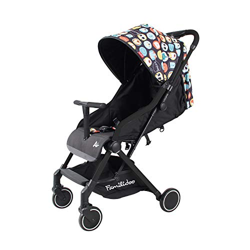 Familidoo Air Lightweight Baby Stroller | Easy One Handed Folding Pushchair | Use From Newborn To Toddler | Black Panda