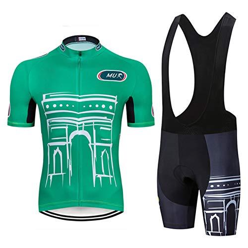 QWA Hombres Ciclismo Jersey Conjunto Secado Rápido, Transpirable, Traje de Ciclismo Manga Corta Verano para Hombre y Mujer, con 20D Almohadilla de Gel (Color : Green 1, Size : A(XS))