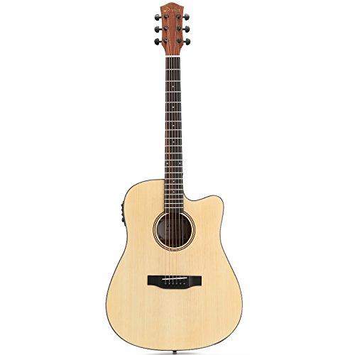 Donner Electro Guitarra Acústica 4/4 Kit de Guitarra de Tamaño Completo para Principiantes Adultos con Preamplificador Integrado (DAG-1CE)