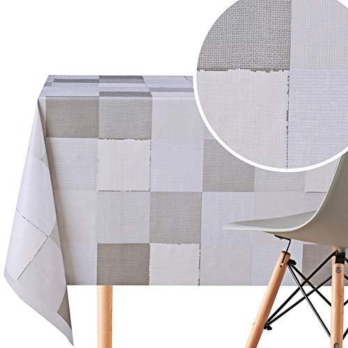 Mantel con patrón de patchwork, rectangular, 200 x 140 cm, para mesas rectangulares de hasta 6 asientos, tela de hule de PVC resistente al agua, en varios tonos gris