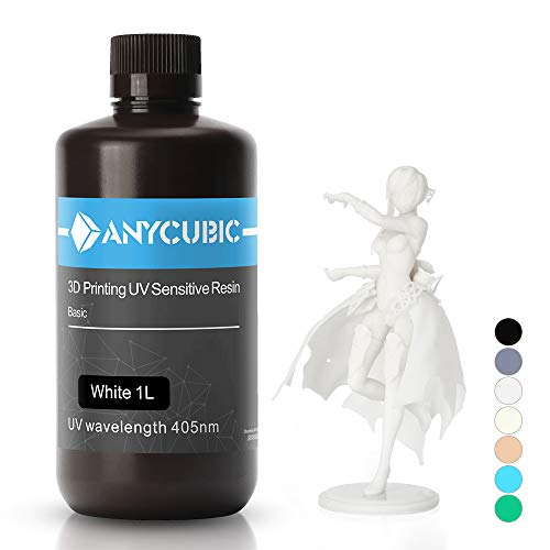 ANYCUBIC 3D Printer UV Resin 405nm Rapid Photopolymer for Photon/S Liquid 3D Resin Universal High Precision for LCD/DLP/SLA 3D Printers, 1L White