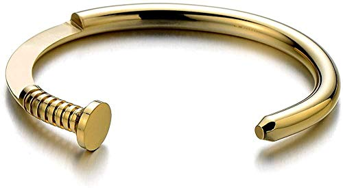 NC188 Mens Screw Nail Bangle Cuff Bracelet of Stainless Steel Gold Color Polished