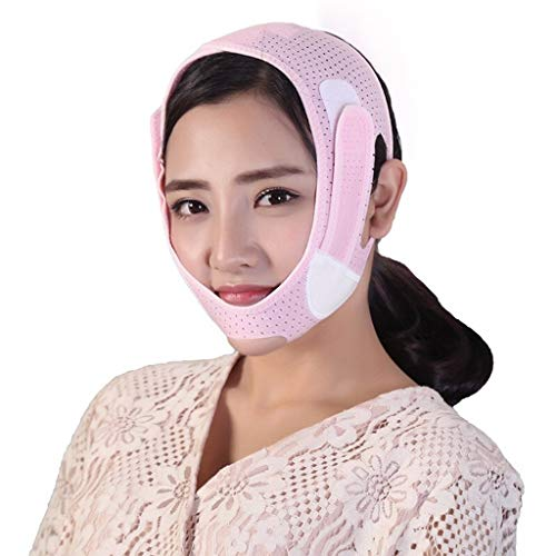 Lifting Masque Bandage V Visage Masque Lifting Double Menton Ligne Ceinture Rose Correction Post-opératoire -jugulaire (Color : Pink)
