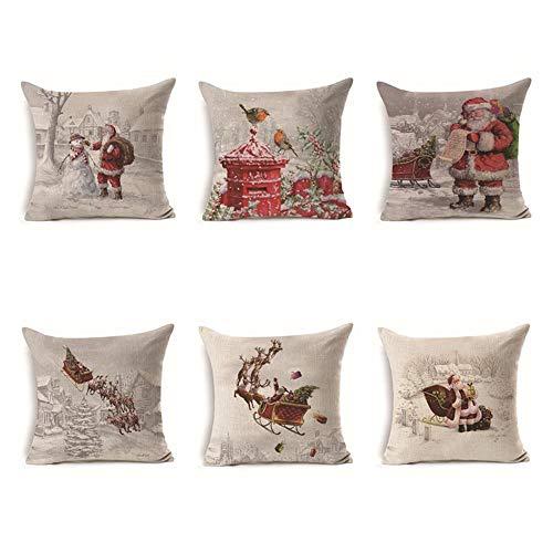 NIBESSER 6er Set Dekorativ Kissenbezug Weihnachten Muster 45 x 45cm Sofa Büro Dekor Kissenhülle aus Baumwoll und Leinen