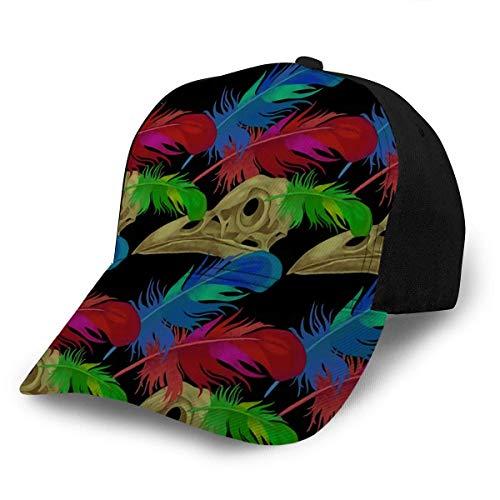 Beibao-shop Hutmütze Baseballmütze Hüte Verstellbare Schädel und Rabenfedern Das Thema des Todes Fi