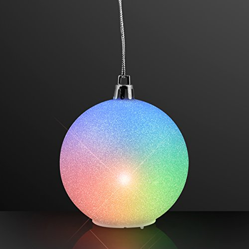FlashingBlinkyLights 2.5' Light Up Snowball LED Glitter Globes Christmas Ornament Decorations (Set of 4)