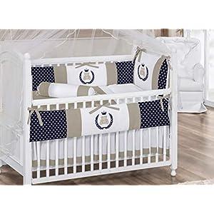 Royal Teddy Bear Theme Navy Blue/White/Khaki Baby Boy 6pc Nursery Crib Bedding Set Embroidered Bumpers + Pillow + Comforter