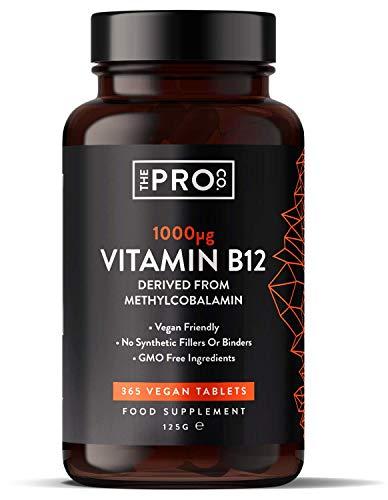 Vitamina B12 1000 mcg - 365 comprimidos (suministro para todo el año) de metilcobalamina vegana - Contribuye a la reducción del cansancio y la fatiga - Fabricado por The Pro Co.