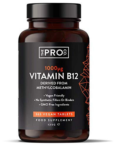 Vitamin B12 1000mcg - 365 Tablets (Full Year Supply) of Vegan Methylcobalamin - Contributes to The Reduction of Tiredness and Fatigue - Made in The UK by The Pro Co.