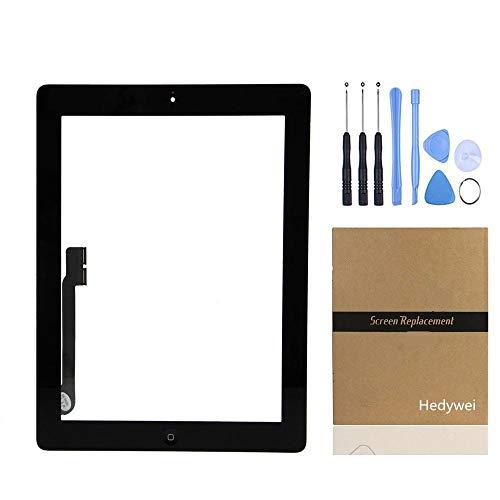 Pantalla Táctil Digitalizador Panel Frontal Reemplazo de Reparación con botón Home, Herramientas y Adhesivo (iPad 3 A1403 A1430 A1416, Negro)