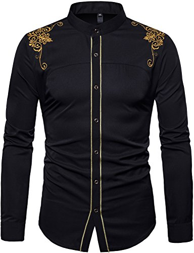 WHATLEES Mens Casual Hipster Mandarin Collar Slim Fit Long Sleeve Dress Shirts with Gold Embroidery T156 Black Large