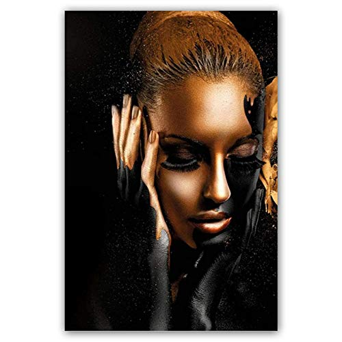 JYWJ Print Pictures on Canvas Abstract Gold Crown Wall Art Black African Woman Decor, Modern Home Decoration Painting for Living Room (No Frame, 40x60cm)