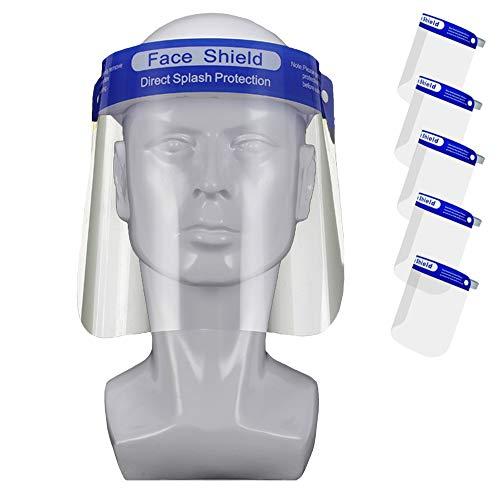 5 Pezzi Visiera Protettiva ad Alta Trasparenza Plastica PET Protezione per Viso Anti appannamento Protective Face Shield (5 Pezzi)