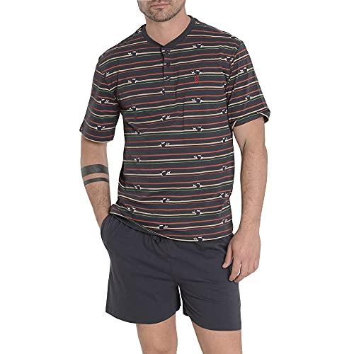 El Búho Nocturno - Pijama Hombre Corto Premium Tapeta Punto Estampado Marino 100% algodón Talla 4 (L)