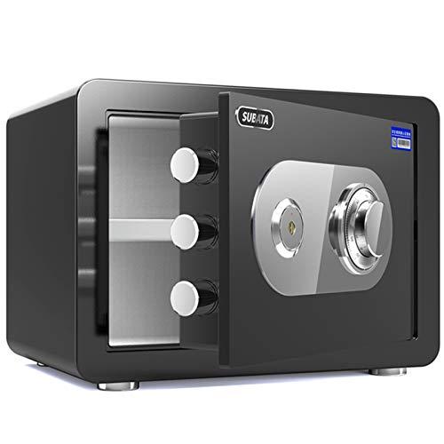 Cajas fuertes Caja De Seguridad En Casa Altura 25 Cm, Caja De Almacenamiento Seguro De Oficina Pequeña, Contraseña Mecánica De Acero, 5 Colores (Color : Black)