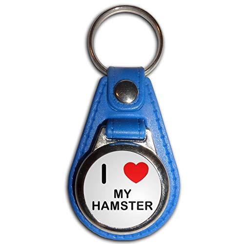I Love My Hamster - Blauer Kunststoff Medaillon Schlüsselanhänger