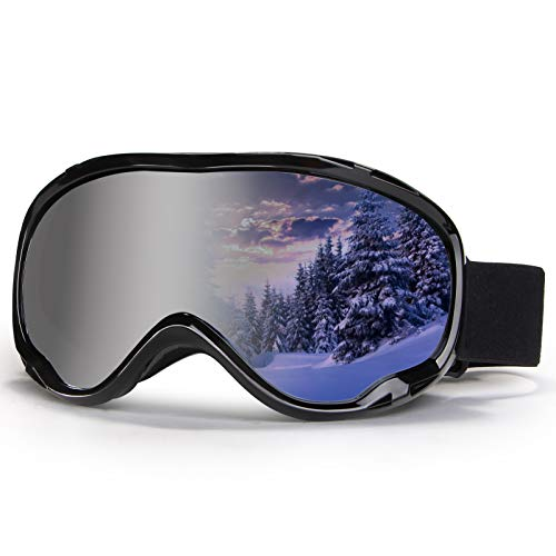 4-FQ Outdoor Ski Goggles,OTG Snowboard Goggles Anti Fog Snow Goggles 100% UV400 Snow Sport Goggles Double Lens Ice Goggles Racing Ski Goggles for Men,Women,Youth Ski Glasses Snowmobile Goggles