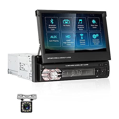 CAMECHO Radio de Coche 1DIN Bluetooth Estereo del Coche 7 Pulgadas 1080P HD Auto Retráctil Pantalla táctil, Soporta SD   USB   AUX EN Enlace Espejo Android iOS FM Radio+Trasero Vista Cámara
