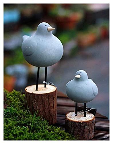 WQQLQX Statue Gartenskulptur Outdoor Gartentier Statue 2 Stücke Harz Grau Mollig Vogel Figur Garten Dekoration Zubehör Handkräftelucker Skulpturen