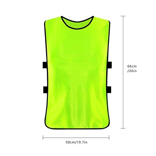 DaMohony Atmungsaktive Trainingswesten Trikots Lätzchen für Das Volleyball-Fußball-Scrimmage-Training. (Grün 6 Stück)