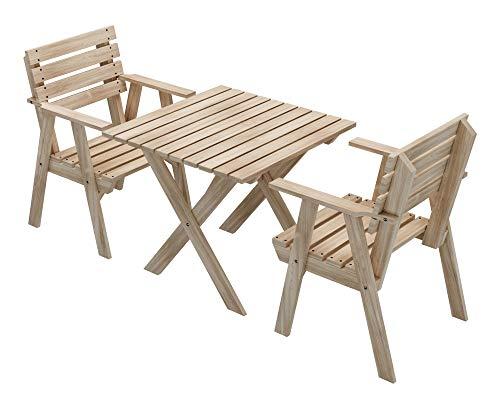 PLATAN ROOM Gartenmöbel aus Kiefernholz 127 cm / 120cm / 80cm / 63cm breit Gartenbank Gartentisch Gartenstuhl Kiefer Holz imprägniert (Set 1 (Tisch + 2 Sessel), 80cm)