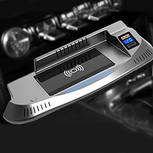 Cargador inalámbrico QI para coche de 15 w, soporte para teléfono con placa de carga rápida, cargador de teléfono inalámbrico para Ford Mustang 2015-2020, accesorios