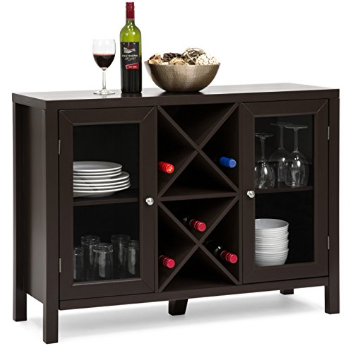 Best Choice Products Wooden Wine Rack Console Sideboard Table w/Storage - Espresso