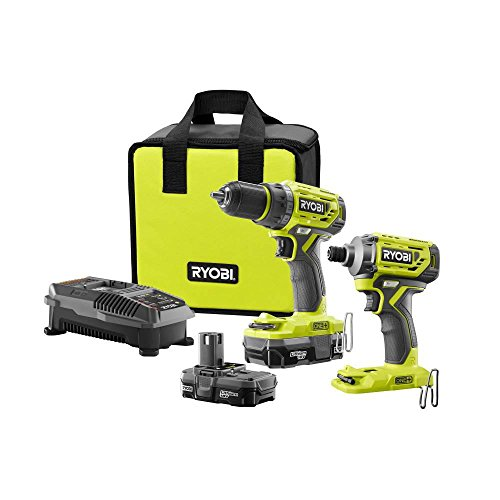 Ryobi 18-Volt ONE+ Lithium-Ion Cordless Brushless Drill/Driver-Impact Driver 2-Tool Kit w/(2) 1.3 Ah Batteries, Charger,