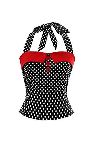 Damen Vintage 50er Jahre Party Top Halfter Rockabilly 40er Baumwolle Hemd Bluse T Shirt Tops Blackhalter M