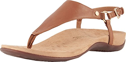 Vionic Women's Rest Kirra Backstrap Sandal - Ladies Sandals with Concealed Orthotic Arch Support Brown 9.5 Medium US