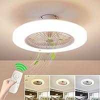Ventilador de techo con lámpara, LED luz del ventilador, 3 Velocidades, 3 colores regulables, con Control remoto inteligente, 40W Lámpara de techo para sala de estar del dormitorio (Blanco)