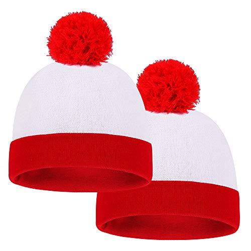 Baodlon - Gorro de punto para Halloween, 2 unidades, diseño de pompón, color rojo y blanco