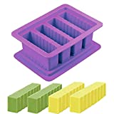 WJPILIS Large 4 Cavities Silicone Butter Mold Tray,with Rectangular Lid and Butter Dish Suitable for Butter Sticks, Chocolate Cookies, Cake Decoration, Fondant Molds, DIY Soap Molds (Purple)
