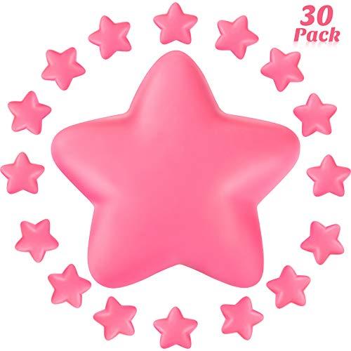 30 Piezas Bolas de Antiestrés en Estrella Mini Pelotas de Estrés de Espuma para Escuela Carnaval Premios de Estudiantes Rellenos de Bolsa de Fiesta (Rosa)
