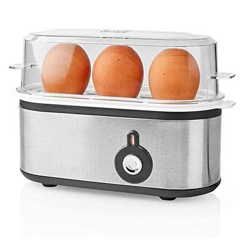 TronicXL Kleiner Design Eierkocher Edelstahl für 3 Eier schmal flach klein kompakt Metall silber