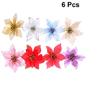 Amosfun Artificial Christmas Flower Faux Poinsettia Christmas Tree Flower Ornaments for Christmas Wedding Decor DIY Christmas Wreath Making 6pcs (Silver)