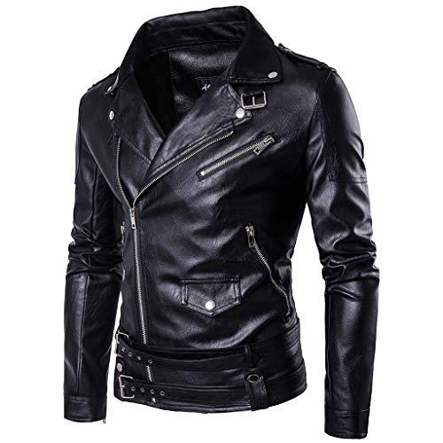 Mens Leather Jacket Harley Moto Cazadora de Cuero de los Hombres Hombres Negro Slim Fit Punk Capa Impermeable Motocicleta de Vestir Exteriores Caliente Casual,Black-XL